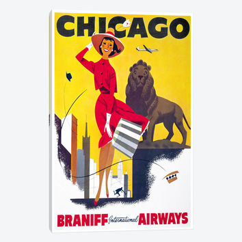 """Chicago Braniff International Airways by Print Collection Canvas Print 18"""" L x 26"""" H x 0.75"""" D"""