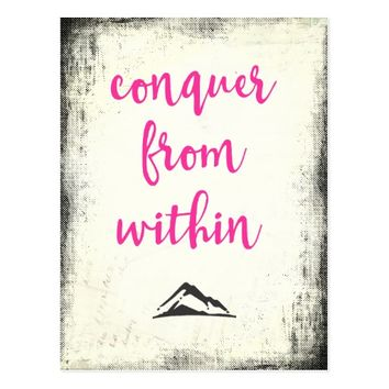 Inspirational Quote Conquer from Within Typography Postcard