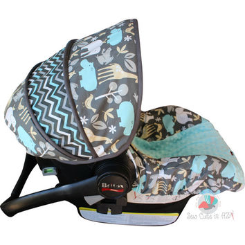 Zoology Sea And Chevron Infant Car Seat Cover