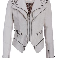 Rocking Off White Studded Punk Style PU Faux Leather Slim Fit Moto Jacket