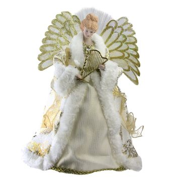 "12"" Lighted Fiber Optic Angel in Gold and Cream Gown with Harp Christmas Tree Topper"
