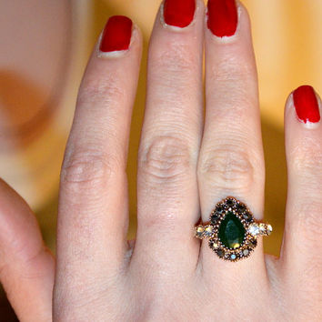 Hurrem Sultan , Turkish Jewelry Ottoman Handmade Emerald Topaz Sterling Silver Ring , Emerald Green Ring , hurrem sultan ring