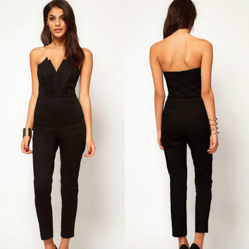 Summer One Piece V-neck Backless Sleeveless Jumpsuits for Women