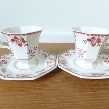 Independence Ironstone Nikko Classic Collection Bittersweet pattern cups and saucers