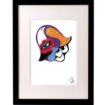 ONLY 1 LEFT** Beautiful Bohemian Red Flower HAMSA Hand with doves, abstract art. Trendy feminine wall decor, print of original ink drawing.