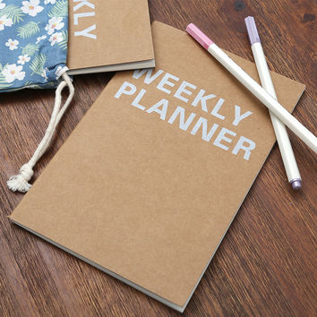 A5 Planner Notebook School Supplies Stationery Weekly Planner Agende 32 Inner Pages Cute Day Planner Book Stationery Paper