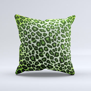 Vibrant Green Leopard Print ink-Fuzed Decorative Throw Pillow