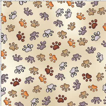 Puppy Paws Bone Fabric
