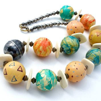 Chunky Bead Necklace Vintage Hand Painted 22""