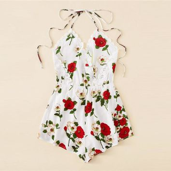 Boho Lace Trim Knot Backless Floral Halter Sexy Romper Women Sleeveless V Neck Romper Vacation Womens Jumpsuits