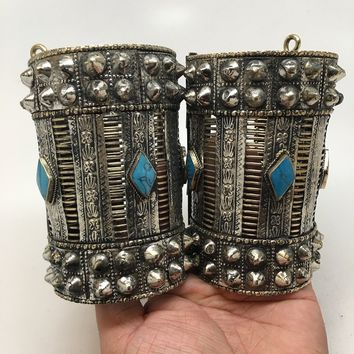 1pc Vintage Afghan Turkmen Tribal Marqu Blue Turquoise Inlay Spike cuff bracelet