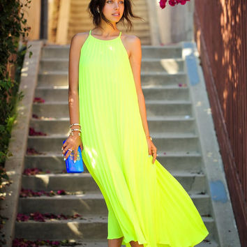 Green Neon Halter Chiffon Maxi Dress