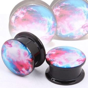 ac PEAPO2Q Rainbow Design Men Women Acrylic Ear Plugs and Tunnels Gauges Earrings Body Piercing Jewelry  @M23