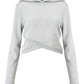Grey Wrap Crop Hooded Sweat - Tops - Apparel