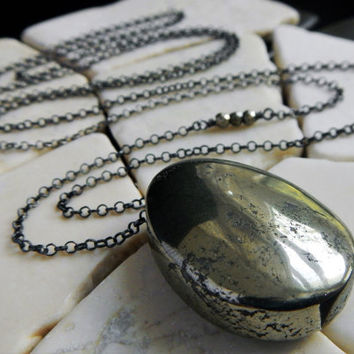 Pyrite and Sterling Silver Pendant Necklace - Extra-Long Necklace - Boho Necklace - Oxidized Silver Necklace - Gaia's Candy - Gift for Her