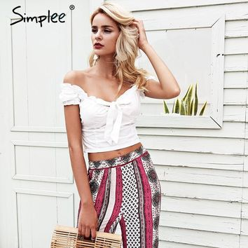 Simplee Off shoulder white crop top women Ruffle bow slim bustier bralette top 2018 Summer beach cami tank tops tees