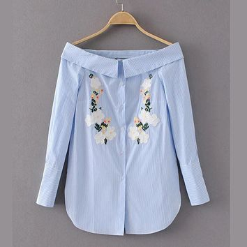 X098 fashion women slash neck fresh floral embroidery long sleeve blue shirt ladies match all sweet blouse blusas tops