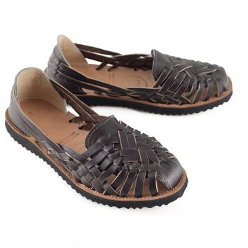 Women's Brown All Leather Huarache Sandal