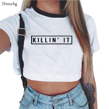 Killin it Women'S Sexy Letters Prints T Shirt 2017 Summer Casual Ladies Short Sleeve O Neck Crop Top Tees Cotton White T-Shirts