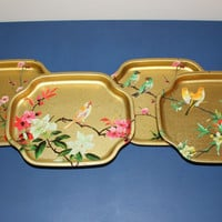Elite Trays England gold bird trays (Set of 4), serving tray, dessert tray, snack tray, vintage tray, Asian decor, bird decor