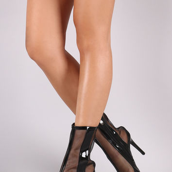 Patent Mesh Inset Pointy Toe Stiletto Ankle Boots