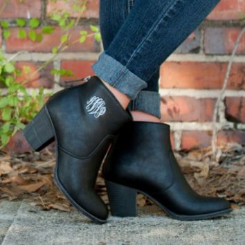 Black Ankle Boots with Monogramming Option (Women's Sizing) sz 6-11