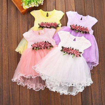 New summer baby dresses girl wedding Christening lace baby girl dress white sleeveless birthday party princess dress