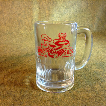 Vintage Dog n Suds Root Beer Glass Mug - Red Design Imprint - 8 oz. size