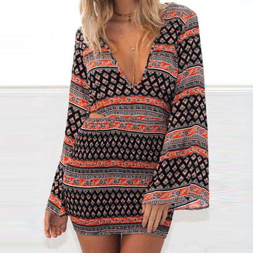 2016 Package Hip Sundress Sexy V-Neck Long Sleeve Vintage Style Print Mini Beach Dress Summer Bodycon Mini Dress Set Vestido u2