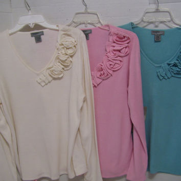 Women's Sweater's Select Options  V-neck Cascading Self Knit Roses Ivory Pink Blue Designer Orignals