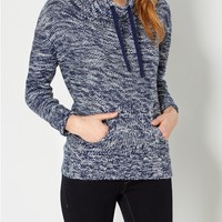 Marled Navy Knit Funnel Sweater