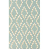 James Fret Aqua Flat Weave Rug