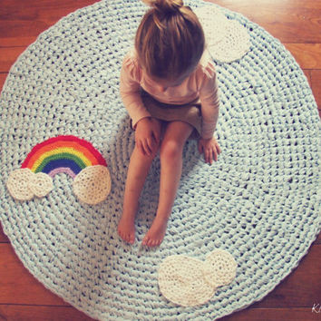 Crochet Rug Rainbow and Clouds Light Blue Cotton Crochet Appliques Four Foot Children's Nursery Rug as Featured on EtsyKids