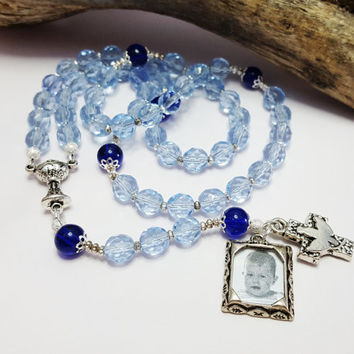 Gift For Godson ~ Personalized Rosary For Baby Boy ~ Baptism, First Communion Gift ~ Baby Shower Gifts ~ Confirmation Keepsake
