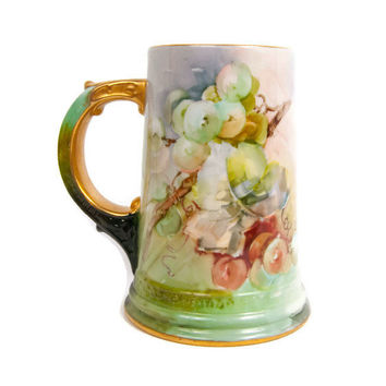 Antique Belleek Stein Tankard Mug Art Nouveau Ceramic Art Company Lenox Hand Painted Grapes Purple and Green