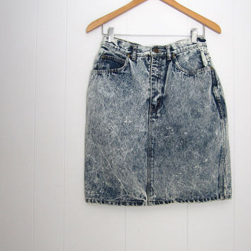 80s Vintage High Waisted Skirt Mini Acid Wash Blue Denim Jean Grunge Punk S 25""