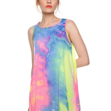 Blue Dye Paint Rainbow Sleeveless Shift Dress