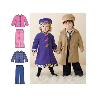 TODDLER GIRLS BOYS Coat Pattern Hat Jacket Pants Pattern Simplicity 2526 Size 1/2 1 2 3 4 Breast Chest 19 20 21 22 23 UNCuT Sewing Patterns