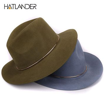 HATLANDER 100% Wool Floppy Brim Fedora Hat for Women