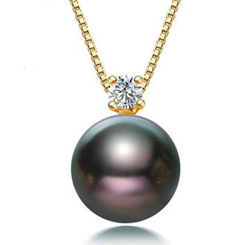 Tahitian Black Pearl 18K Yellow Gold Pendant Necklace Fine Jewelry For Party [Dz1012]