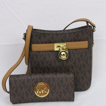 NWT Michael Kors Hamilton Brown PVC MK Messenger Crossbody Bag Fulton Wallet