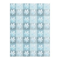 Ice Blue Winter Leaves Fleece Blanket