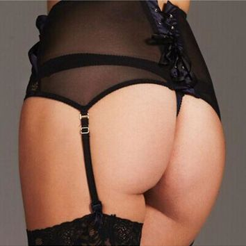 Transparent Mesh High-Waist Lace Garter Belt w/ Adjustable Thong (Plus Size)