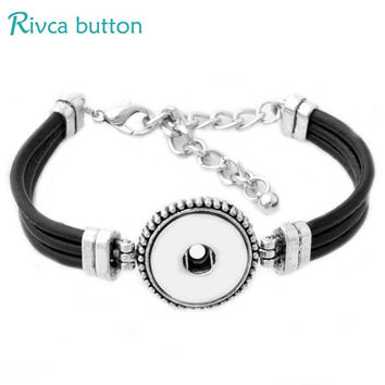 P00781 Newest Snap Button Bracelet&Bangles Antique Silver Plated Vintage Charm leather Bracelets 18mm Rivca Snap Buttons Jewelry