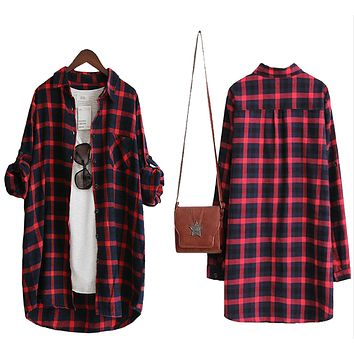 Women Plaid Shirt Blouse
