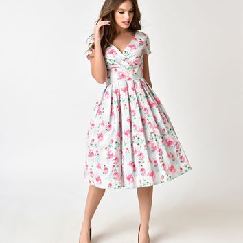 Hell Bunny Mint & Floral Print 1950s Style Natalie Cotton Dress