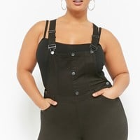 Plus Size Ripped-Knee Overalls