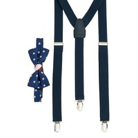 Wembley USA Stars & Stripes Bow Tie & Suspender Set -Men, Size: One Size (Pink)