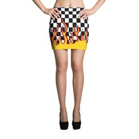 Checkered Flame Mini Skirt
