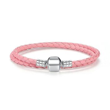Pink Black Braided Leather Chain Women Bracelets